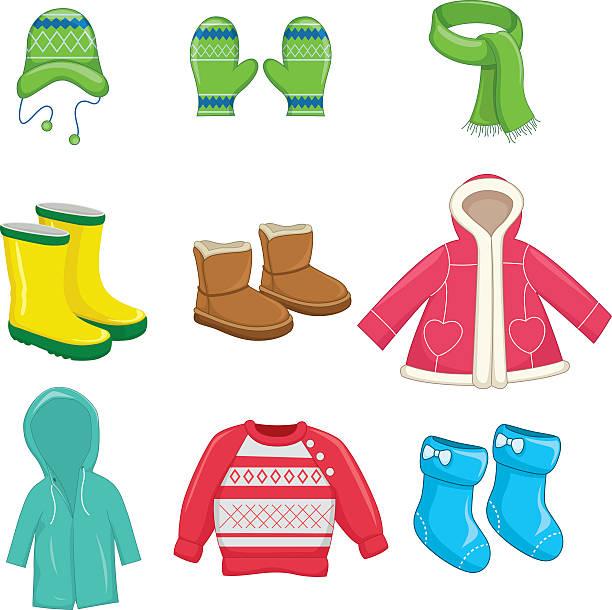 vector illustration of winter clothes - kinderstiefel stock-grafiken, -clipart, -cartoons und -symbole