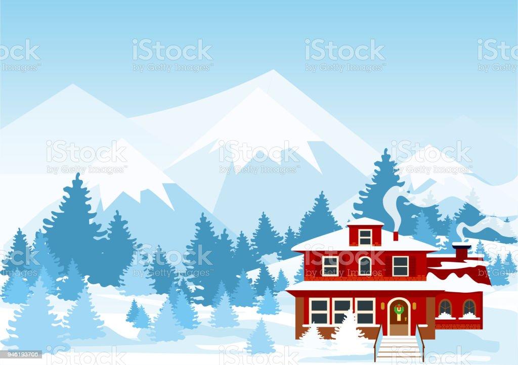 Orman Kar Kış Manzara Dağlar Ve Kırmızı Renk Cote Ile Vektör çizim
