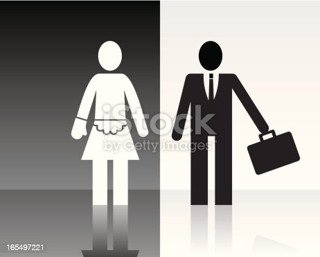 Man in the job and woman on housework.
