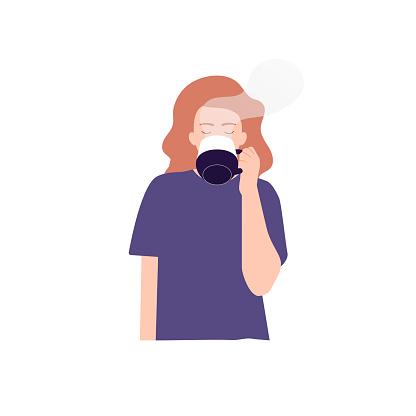 Vector illustration of woman drinking tea, coffee