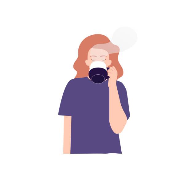ilustrações de stock, clip art, desenhos animados e ícones de vector illustration of woman drinking tea, coffee - chá bebida quente