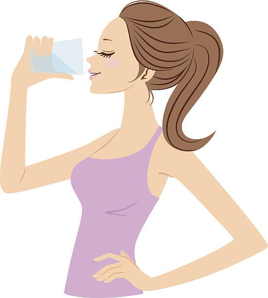 stockillustraties, clipart, cartoons en iconen met vector illustration of woman drinking water - woman water