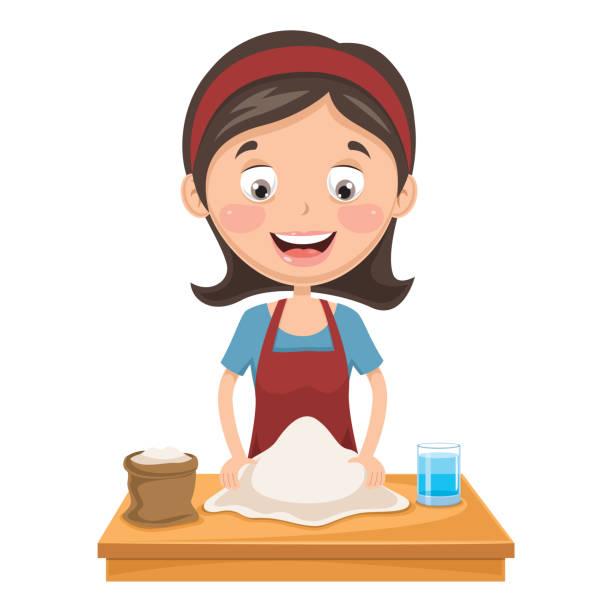 illustrazioni stock, clip art, cartoni animati e icone di tendenza di vector illustration of woman kneading dough - impastare
