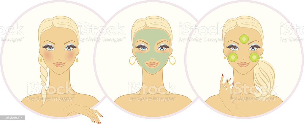Vector illustration of Woman with cosmetic mask royalty-free stock vector art