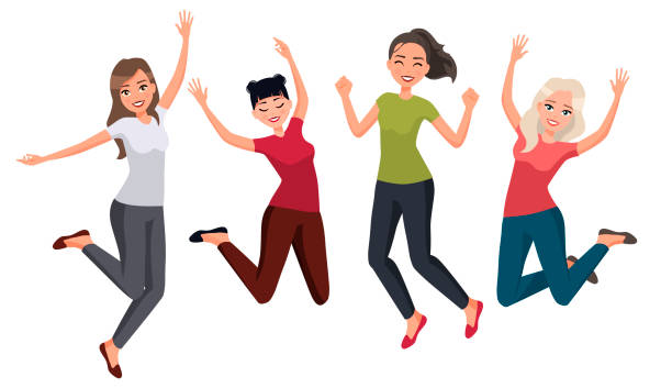 vector illustration of women in different poses. cartoon realistic people.flat young woman.front view.happy group of people jumping on a white background. women in casual clothes. healthy lifestyle. - jumping stock illustrations