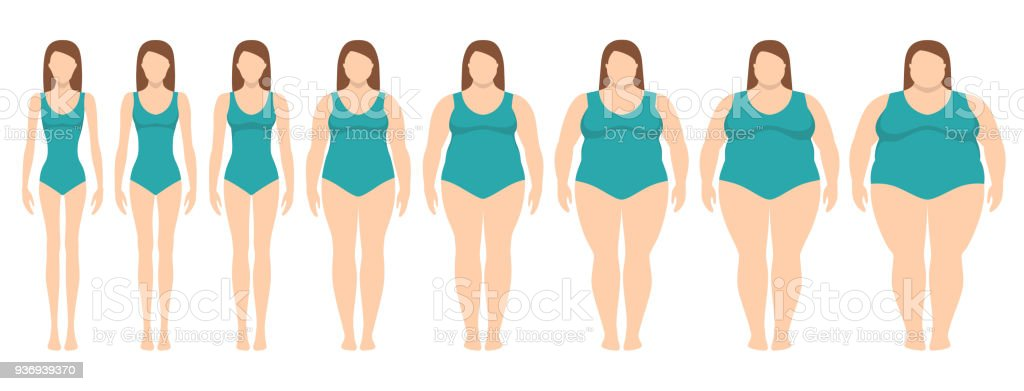 Vector illustration  of women with different  weight from anorexia to extremely obese. Female weight scale. vector art illustration