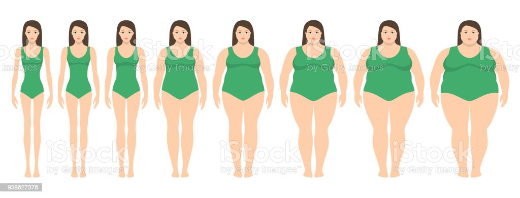 Vector illustration  of women with different  weight from anorexia to extremely obese. vector art illustration