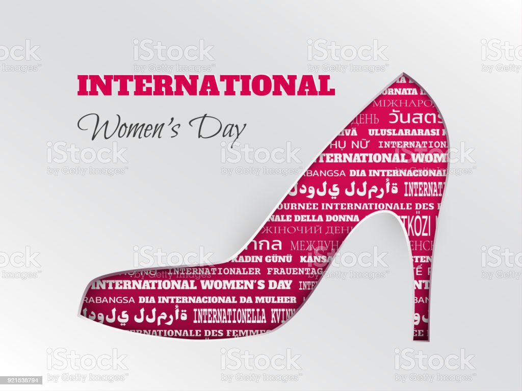 Vector illustration of womens day 8 march greeting card with cuted vector illustration of womens day 8 march greeting card with cuted silhouette of shoe on m4hsunfo