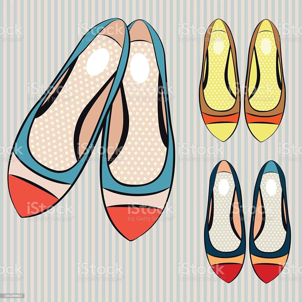 Vector illustration of women's flat shoes vector art illustration