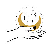 Vector illustration of women's hand holding Moon and stars. Trendy linear and minimal boho tattoo style for symbol, emblem, t-shirt fashion print, stickers, skin care or cosmetics branding