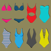 871a8248edb ... Vector illustration of women's swimsuit design set. Fashion bikini  collection. Female stylish swimwear silhouettes ...