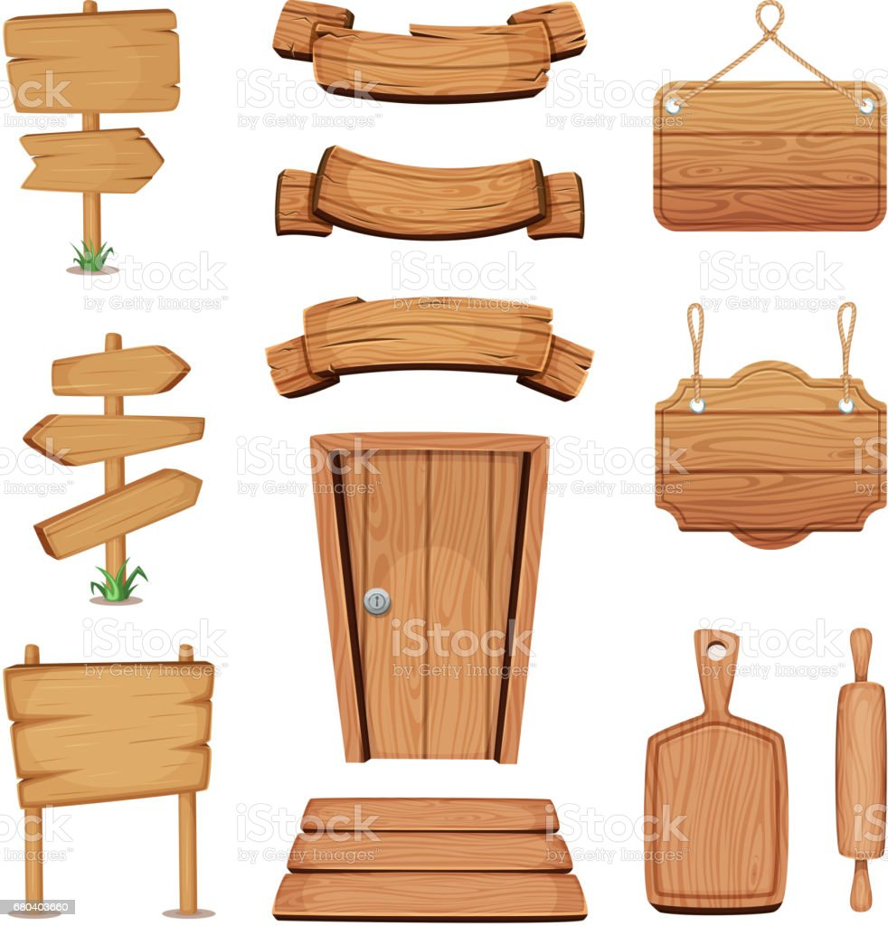 Vector illustration of wooden signboards, doors, plates and other different shapes with wood texture vector art illustration