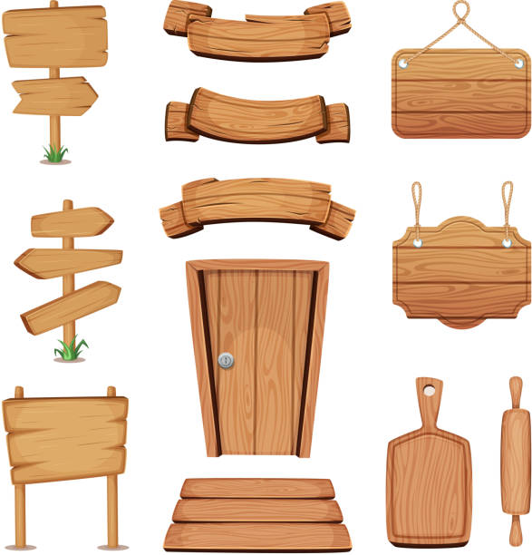 vector illustration of wooden signboards, doors, plates and other different shapes with wood texture - transparent stock illustrations