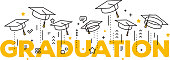 Vector illustration of word graduation with graduate caps on a white background. Caps thrown up. Congratulation graduates 2017 class of graduations.