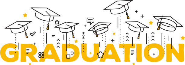Vector illustration of word graduation with graduate caps on a white background. Caps thrown up. Congratulation graduates 2017 class of graduations. vector art illustration