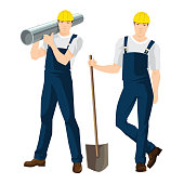 Vector illustration of worker in overalls and protective helmet isolated on white background. Workers with shovel and pipe.