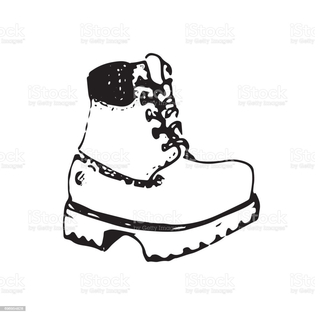 c681e4f250c46c Vector illustration of working boot in sketch style. Hand sketched shoe  image or icon. - Illustration .