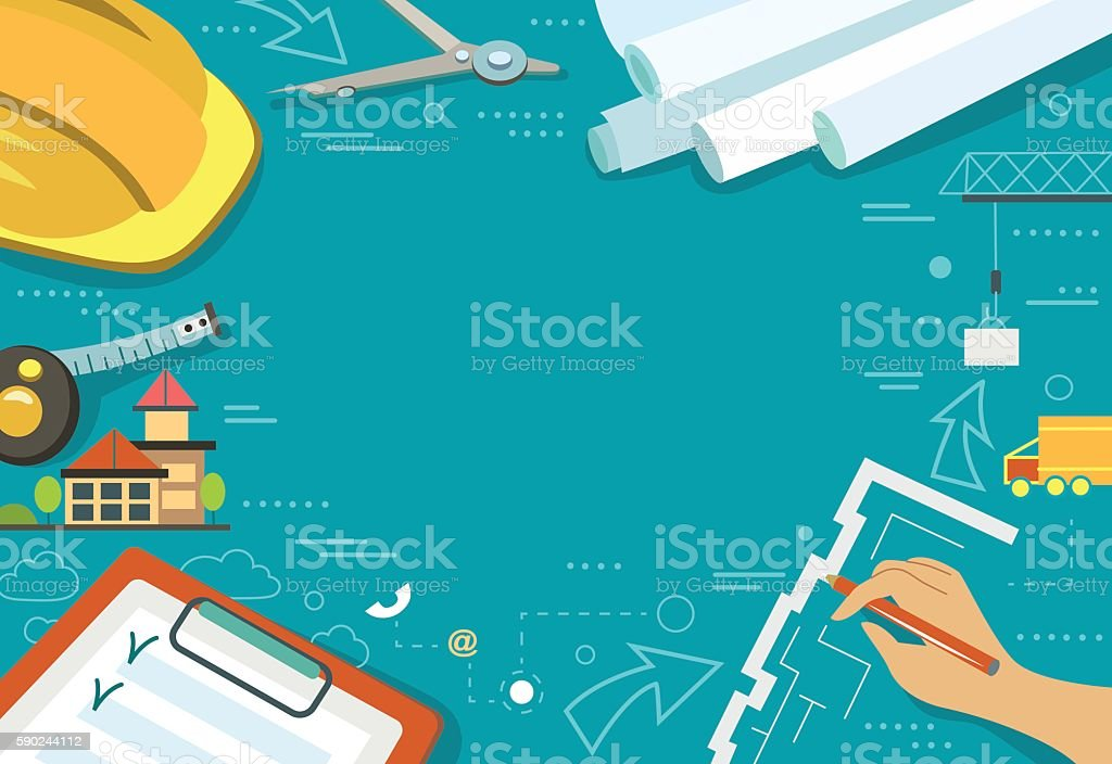 Vector illustration of working table architect vector art illustration