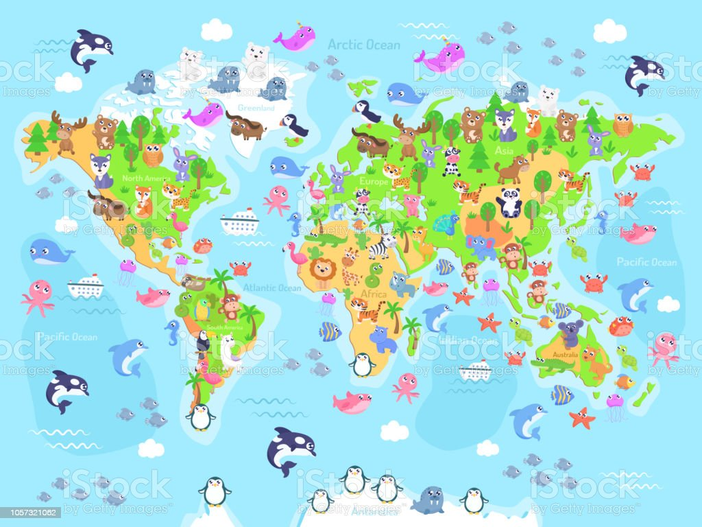Vector Illustration Of World Map With Animals For Kids Stock Vector ...