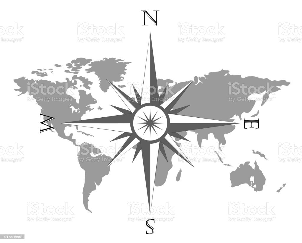 Vector Illustration Of World Map With Wind Rose Navigation Compass