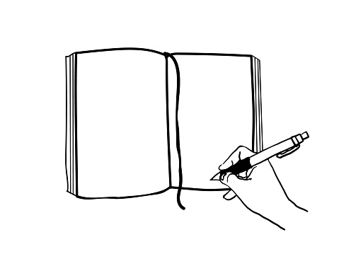 vector illustration of writing in a notebook