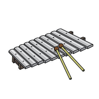 Vector illustration of xylophone isolated on white background for kids coloring activity worksheet/workbook.