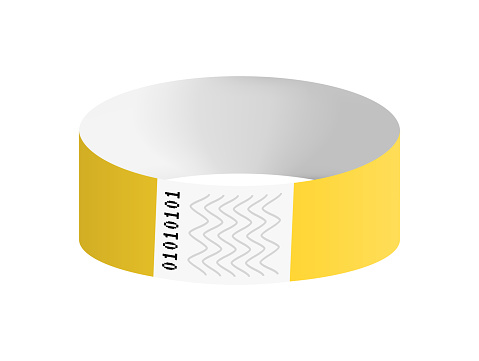 Vector illustration of yellow cheap empty bracelet or wristband. Sticky hand entrance event paper bracelet isolated on white. Template or mock up suitable for various uses of identification.