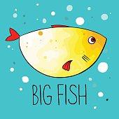 Vector illustration of yellow fish