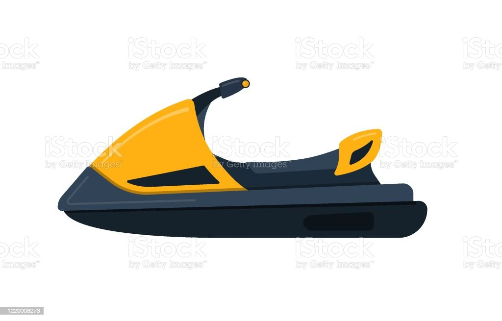 Vector Illustration Of Yellow Jet Ski Isolated On White Background Summer Rest Extreme Sport Cartoon Vector Stock Illustration Download Image Now Istock