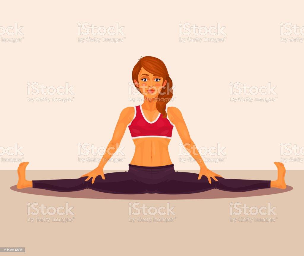 Vector illustration of yoga girl doing the splits. vector art illustration