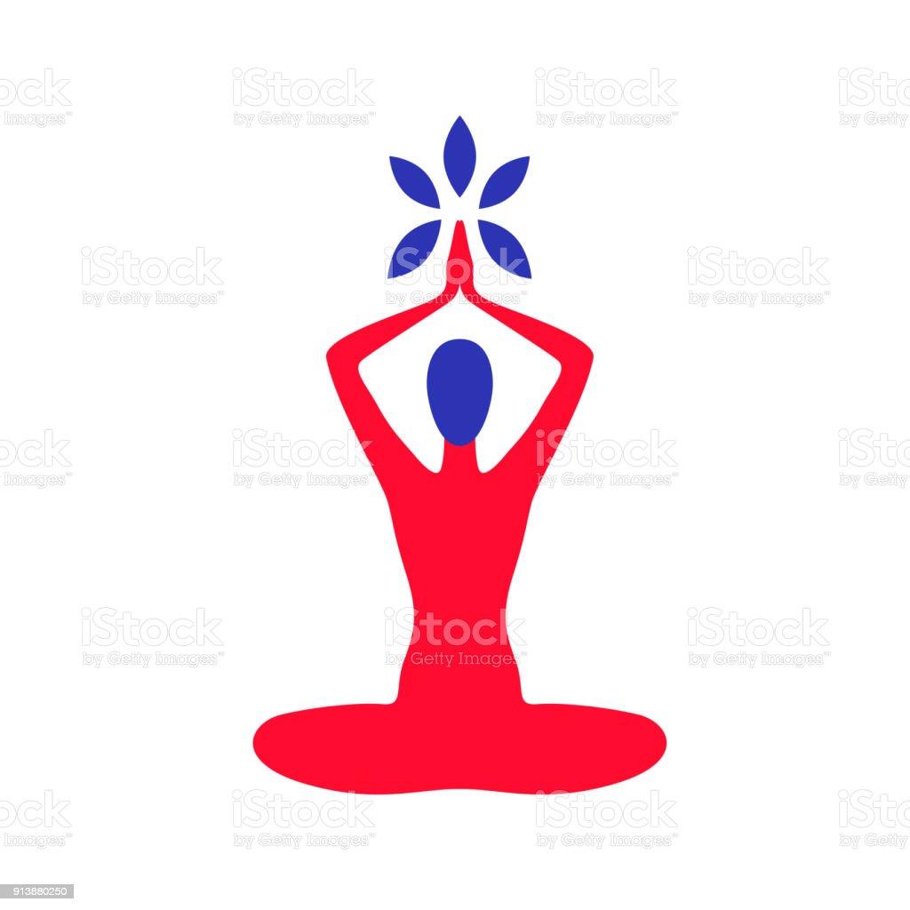 Vector illustration of yoga man vector art illustration