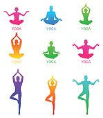 Vector illustration of Yoga poses silhouette.
