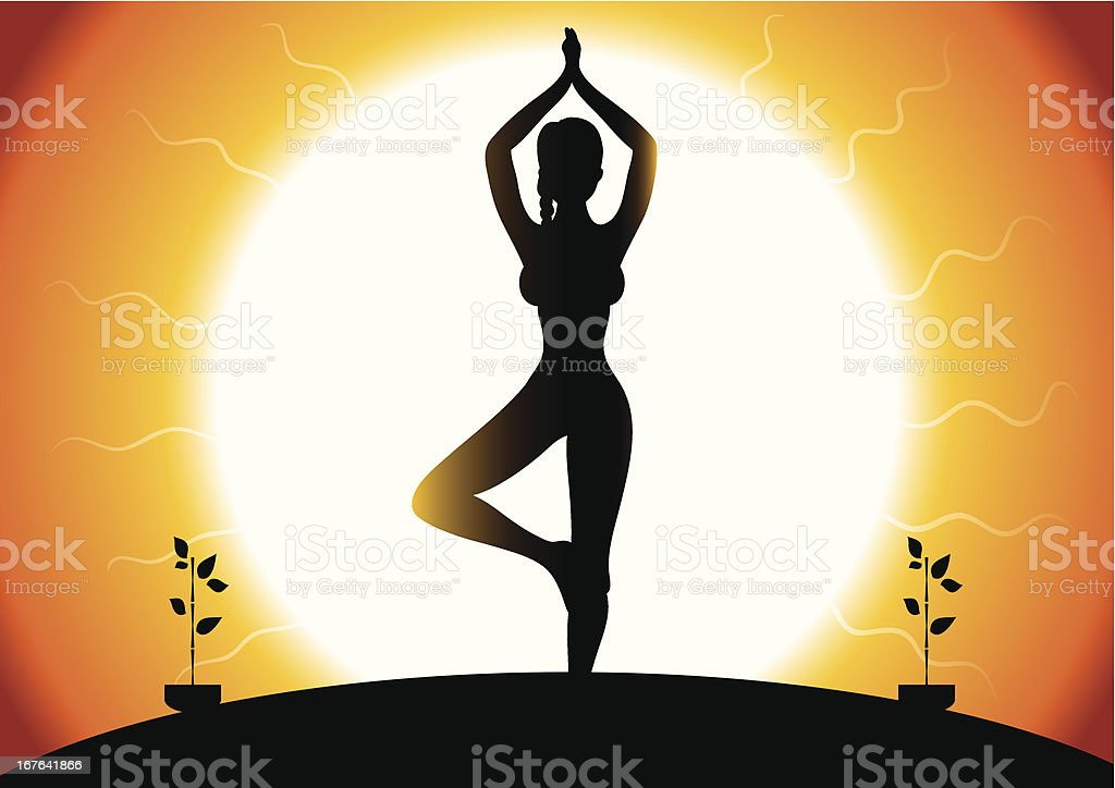 Vector illustration of yoga woman royalty-free stock vector art