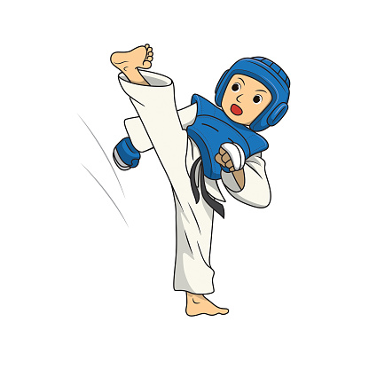Vector illustration of young adult taekwondo athlete training leg kicking over head isolated on white background. Kids coloring page, drawing, art, first word, flash card. Color cartoon character clipart.