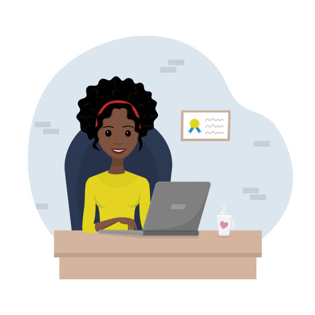vector illustration of young african-american business lady working on the notebook. - young women stock illustrations