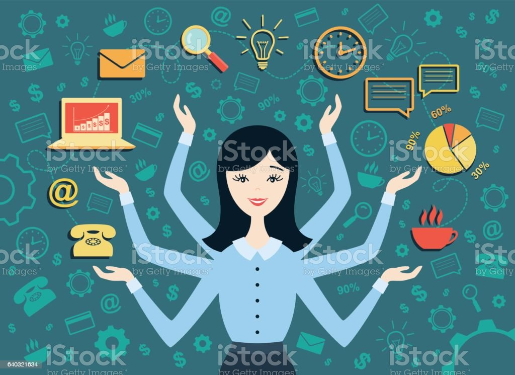 Vector illustration of young business woman vector art illustration