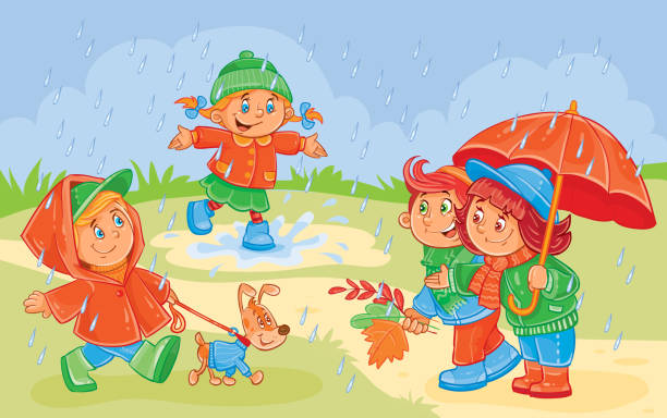 Royalty Free Kids Playing In The Rain Clip Art, Vector ...