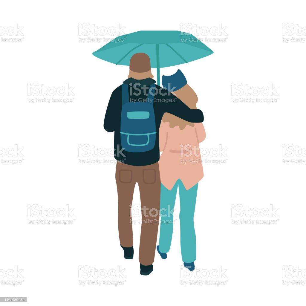 雨天の傘の下を歩く若いカップルのベクトルイラスト イラストレーションのベクターアート素材や画像を多数ご用意 Istock