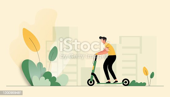 istock Vector Illustration of Young Man Riding Electric Scooter. Flat Modern Design for Web Page, Banner, Presentation etc. 1200959481