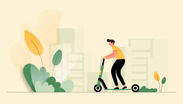 illustrazioni stock, clip art, cartoni animati e icone di tendenza di vector illustration of young man riding electric scooter. flat modern design for web page, banner, presentation etc. - monopattino elettrico