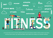 Vector illustration of young people doing workout with equipment. Flat design . Sport banner