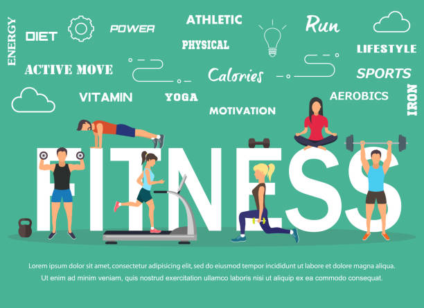 Vector illustration of young people doing workout with equipment. Flat design vector art illustration