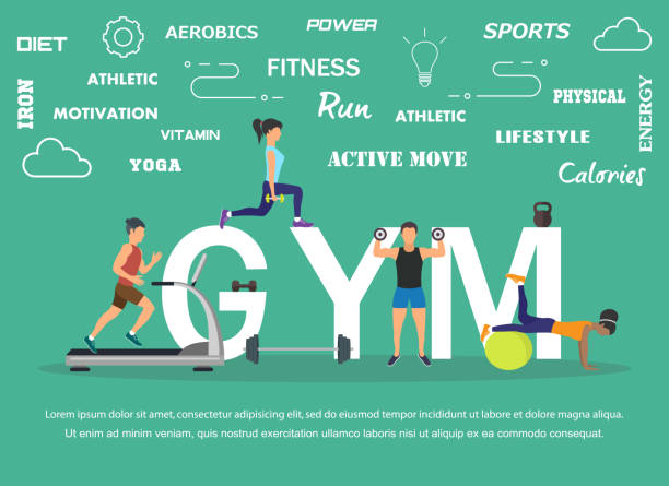 vector illustration of young people doing workout with equipment. flat design - personal trainer stock illustrations, clip art, cartoons, & icons