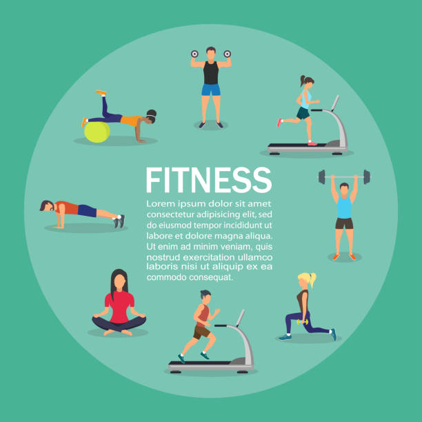 Vector illustration of young people doing workout with equipment. Infographic Vector illustration of young people doing workout with equipment. Flat design . Infographic exercise machine stock illustrations