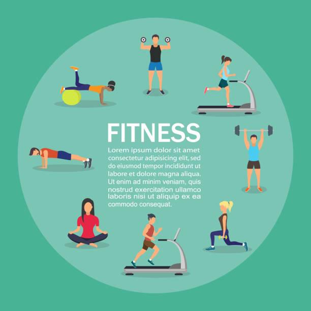 ilustrações, clipart, desenhos animados e ícones de ilustração em vetor de jovens a fazer exercícios com o equipamento. infográfico - personal trainer