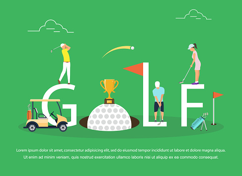 Vector illustration of young people playing Golf