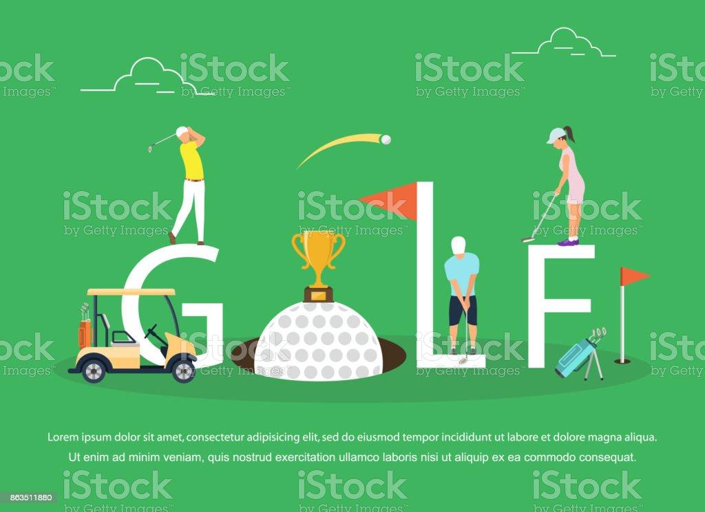 ゴルフの若者のベクトル イラスト ベクターアートイラスト