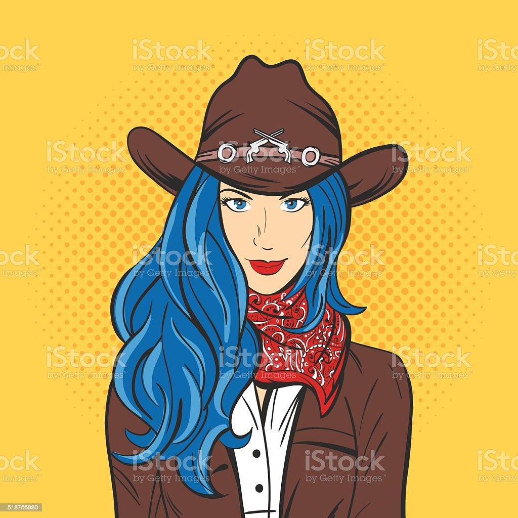 Ilustração vetorial de jovem linda menina com Chapéu de vaqueiro. ilustração  vetorial de jovem linda 3fa4fd714af