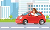 Vector illustration of young woman auto driver rides in red car city street in flat style. Concept lifestyle in the city