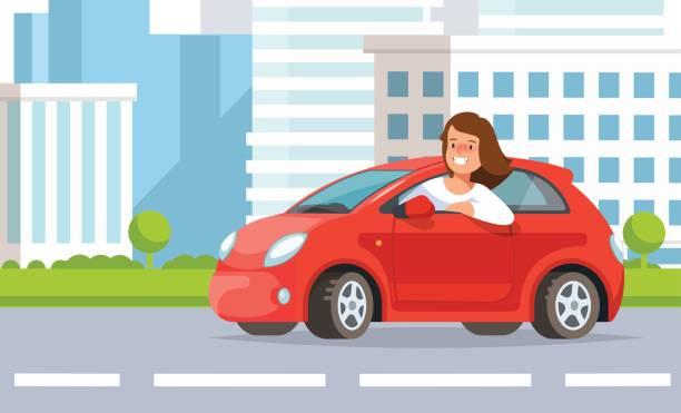 ilustrações, clipart, desenhos animados e ícones de ilustração em vetor de jovem dirigindo a paisagem da cidade de rua - carro mulher